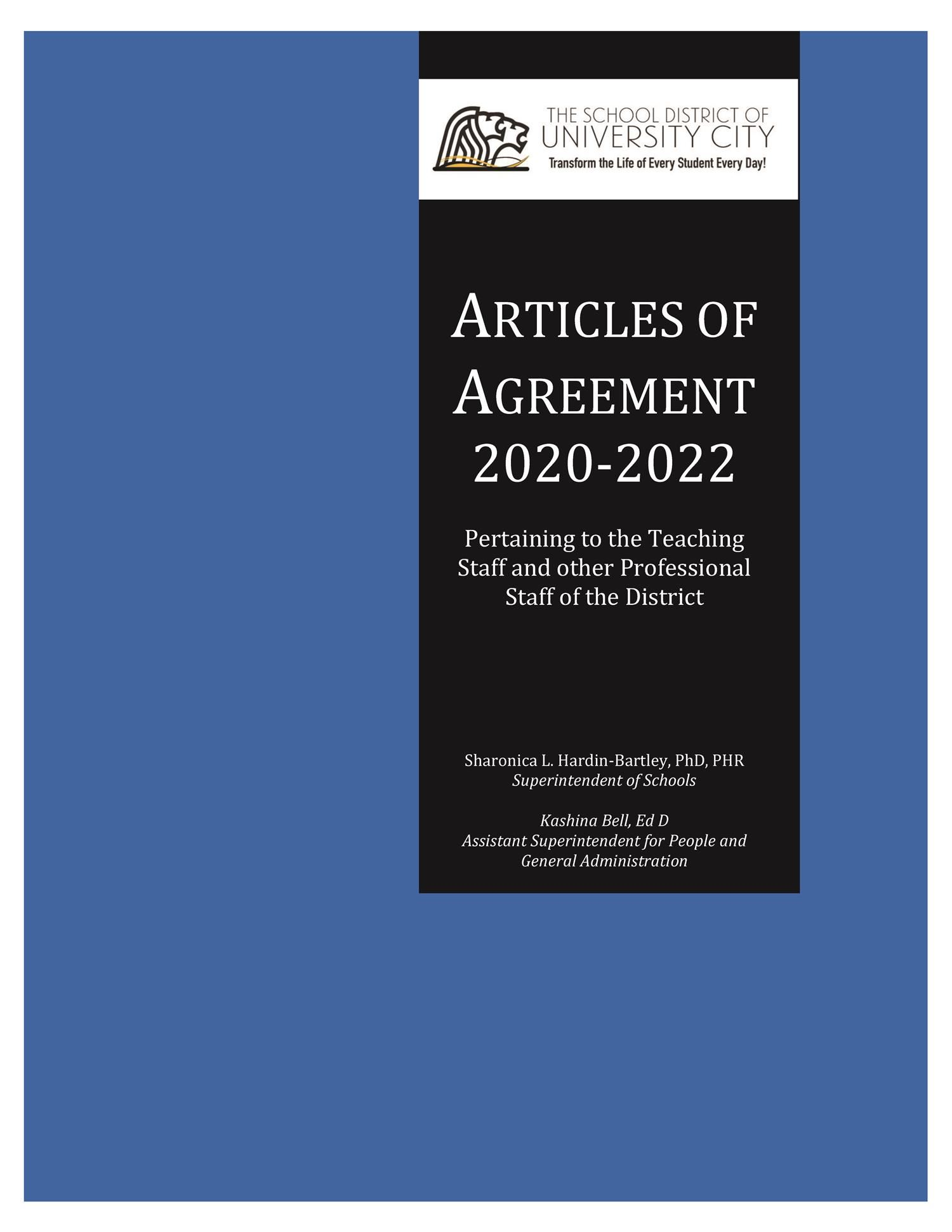 Cover 20-22  from Certified Staff Articles of Agreement-Blue Book