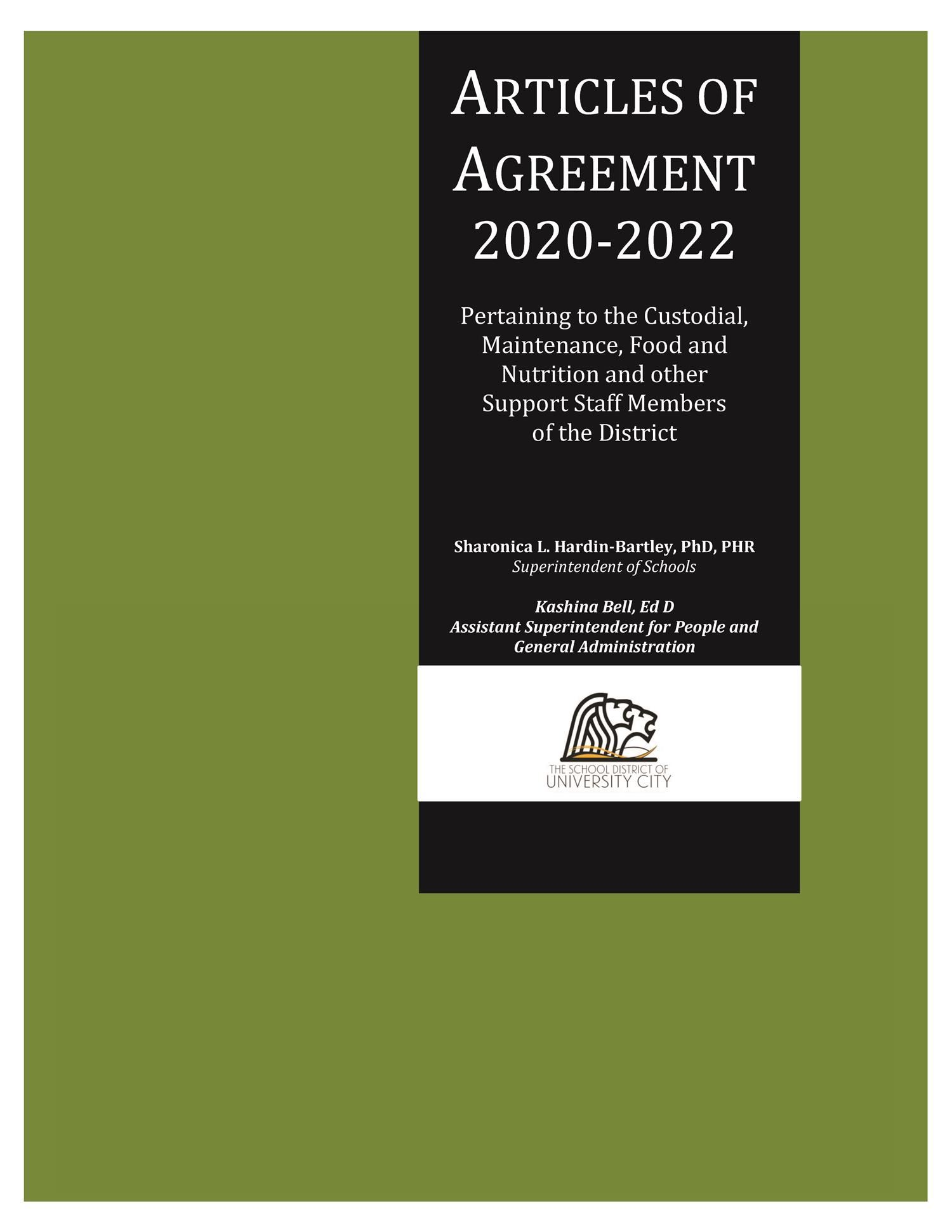 Cover 20-22 from Support Staff Articles of Agreement-Green Book